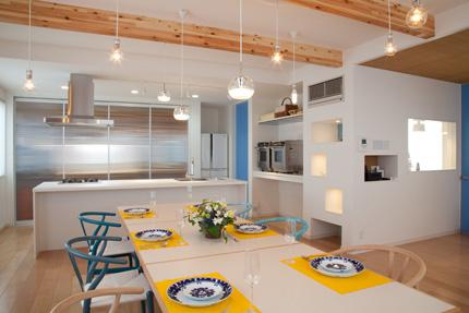 3パンのお教室、3つの高さを変えられるテーブル。全体を明るくする照明。青はテーマカラー